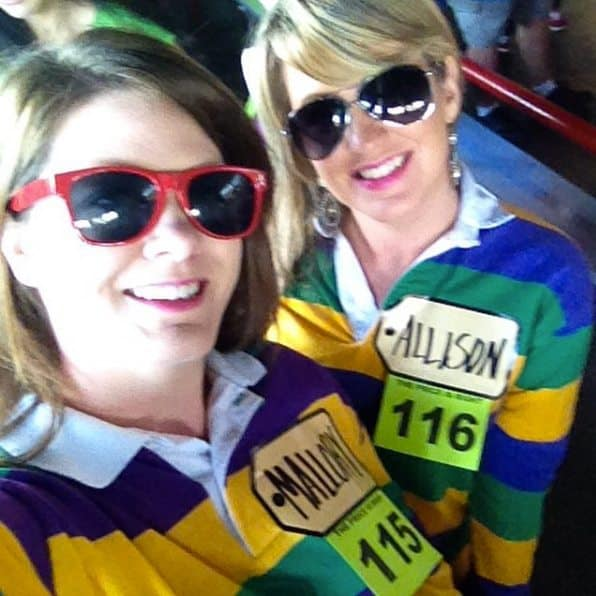 Allison and Mallory wearing matching Mardi Gras shirts for the Price is Right.