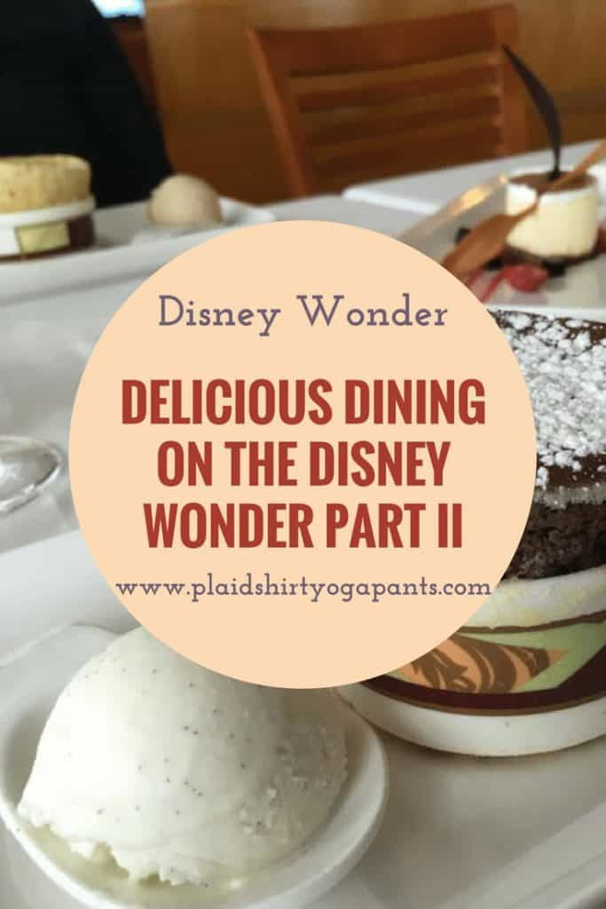 Dining reviews of the final four days on the Disney Wonder. Read about dishes at Cabanas, Triton's, Animator's Palate, and Tiana's Place. Click to read more.