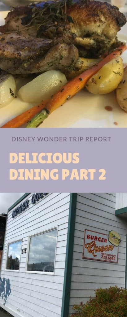 Dining reviews of the final four days on the Disney Wonder. Read about dishes at Cabanas, Triton's, Animator's Palate, and Tiana's Place.