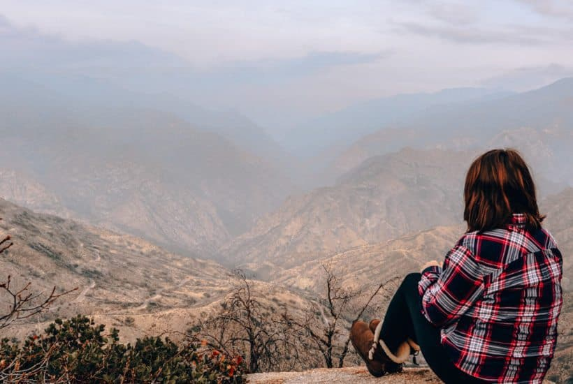 Mallory, Plaid Shirt Yoga Pants, enjoying a mountain scenery in Sequoia National Park